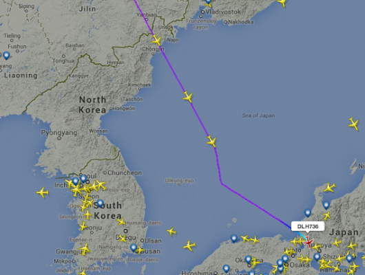 Who's using North Korean airspace?