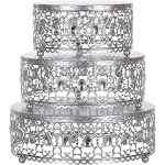 Amalfi Décor 3-Piece Metal Cake Stand Risers Set with Crystal Rhinestones (Silver) | Stainless Steel Frame