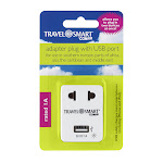 Travel Smart Gray Type A For Worldwide Adapter Plug with USB Port