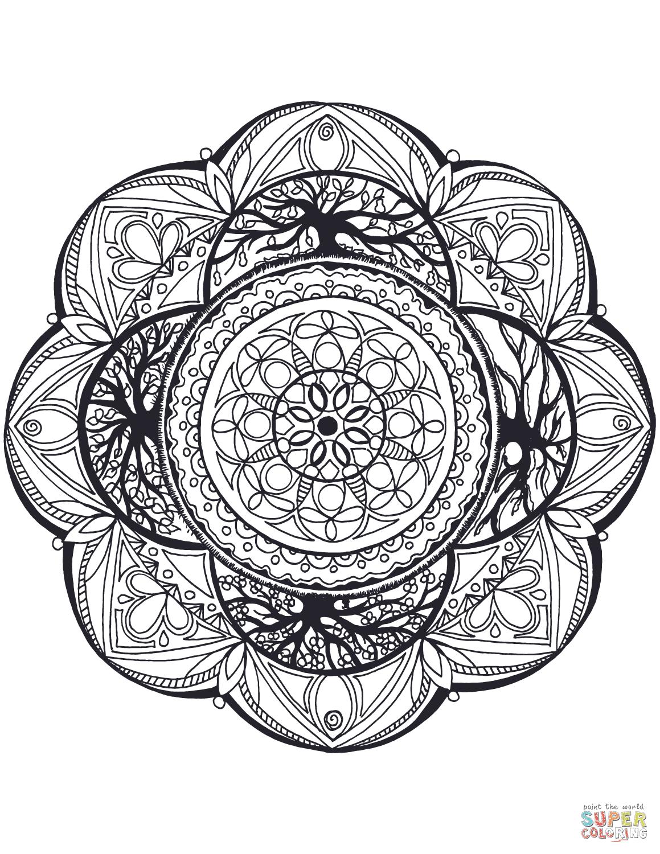 Dibujo De Manada Con El árbol De La Vida Para Colorear Dibujos