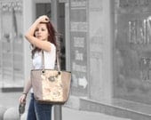 Leather tote bag. Beige/ gray large leather purse. Leather satchel. - 5plus