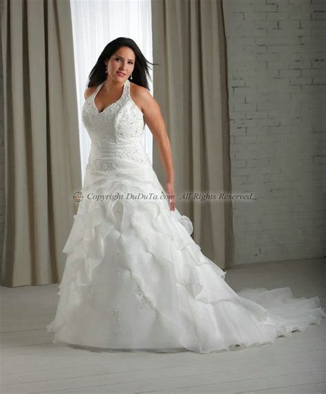 plus size halter wedding dresses   line Satin Halter Lace
