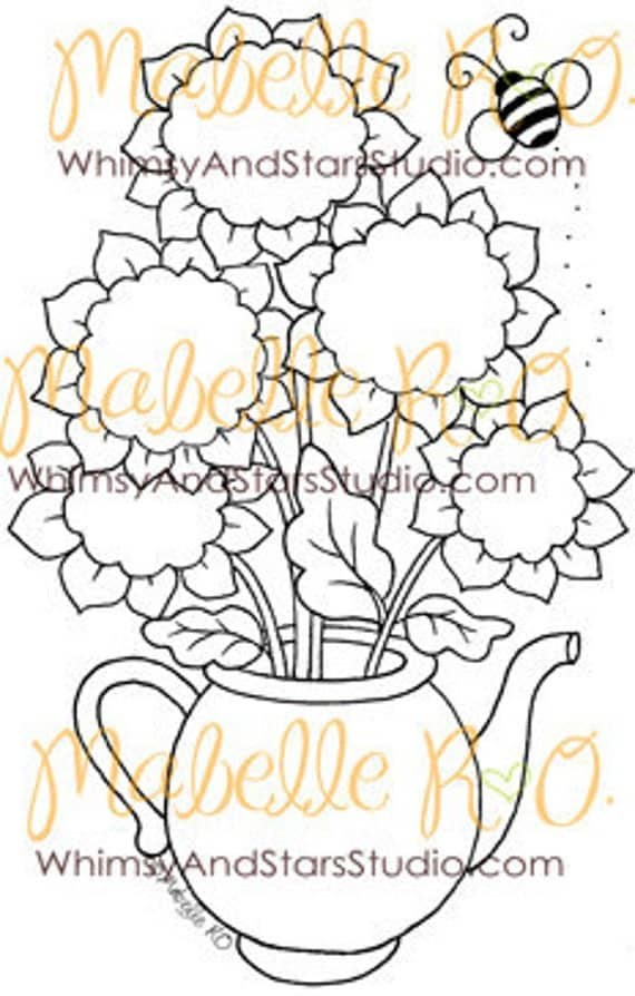 Digital Stamp: Sunflower Teapot