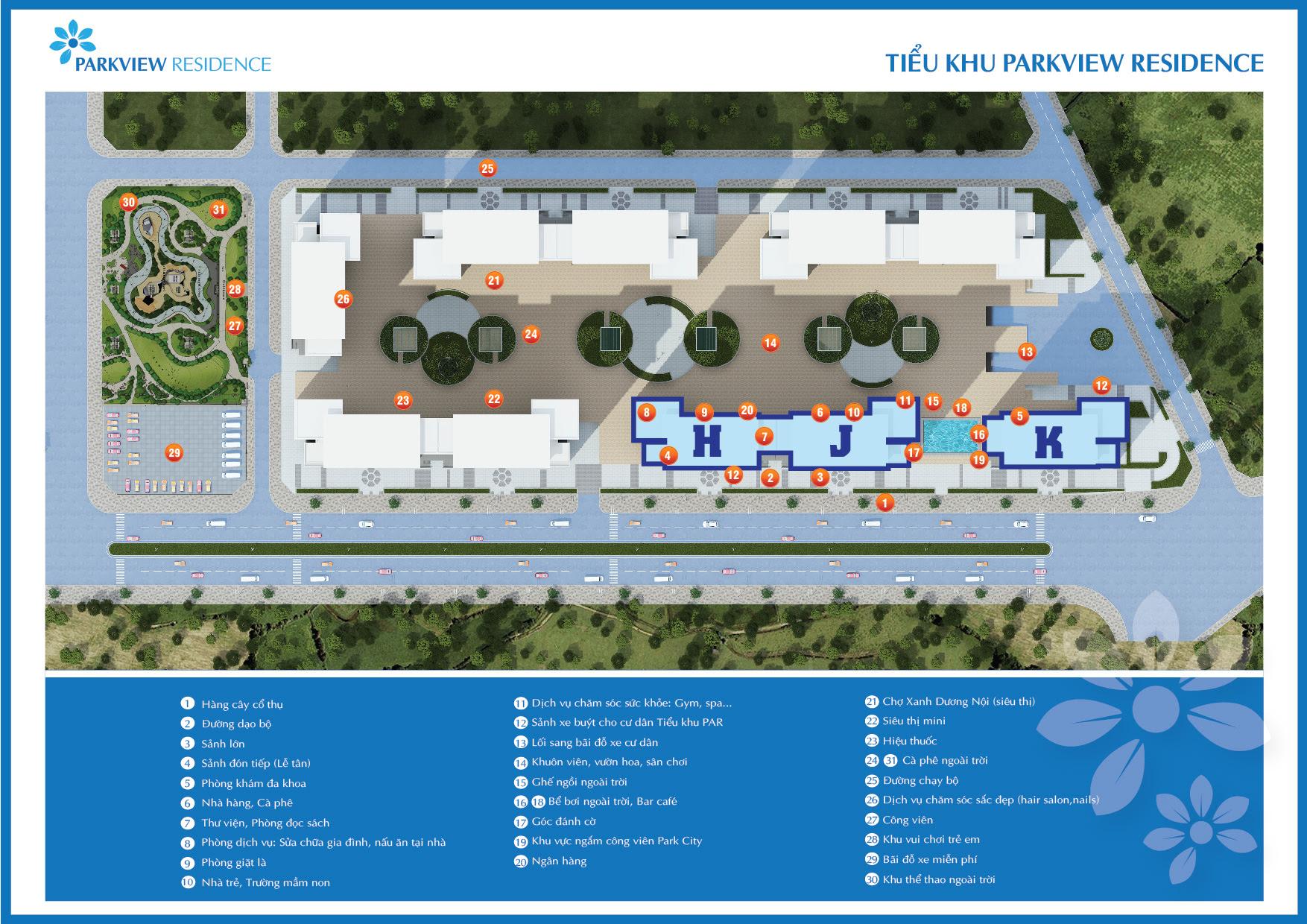 Tiện ích tổng thể dự án Park View Residence