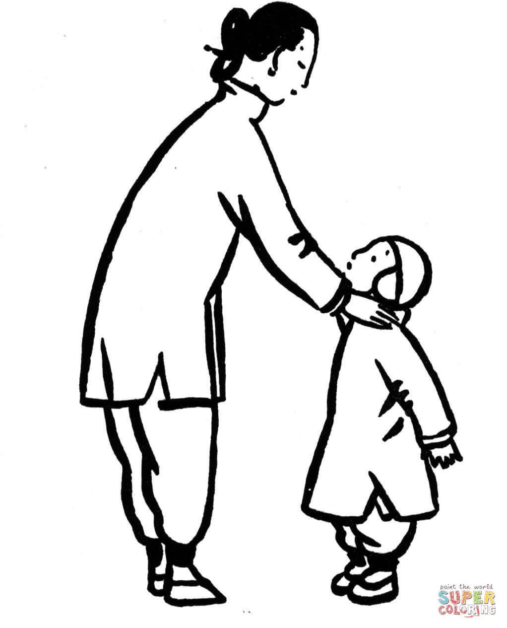 Dibujo De Madre Con Su Hijo Pequeño Para Colorear Dibujos Para