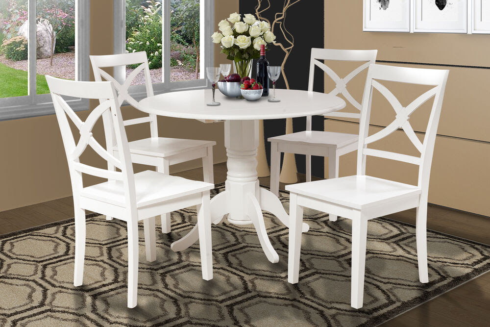 42\u0026quot; ROUND DINETTE KITCHEN DINING ROOM TABLE SET W\/. 9\u0026quot; DROP LEAF IN WHITE FINISH  eBay