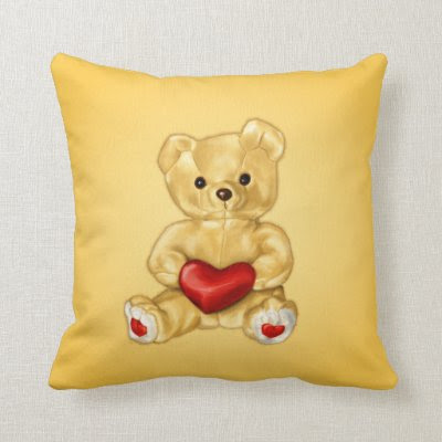 Cute Teddy Bear Hypnotist Holding a Heart Yellow Throw Pillows