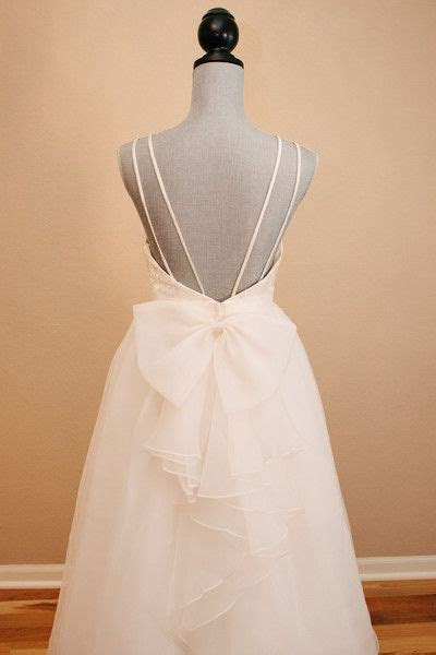 Lace and Organza Low Back Wedding Dress with Bow   My
