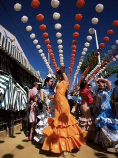 The annual Feria de Abril (April Fair) in Seville, Spain is a week-long festival of flamenco dancing, horse shows and bullfighting in the capital of Andalucía.