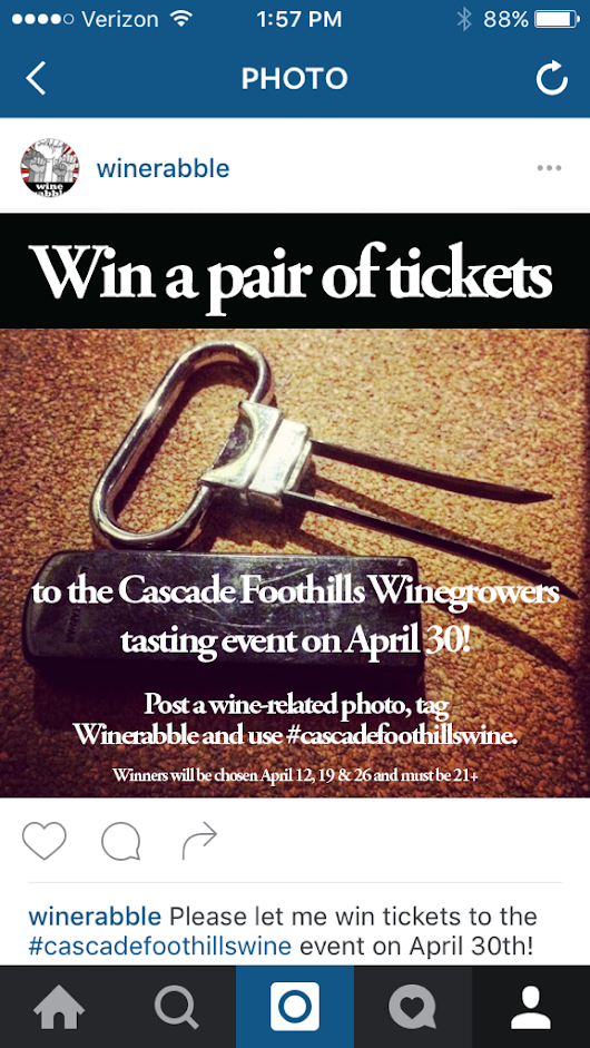 Win free tickets to the Cascade Foothills Winegrowers tasting event