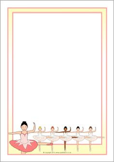 Ballerina-themed A4 page borders (SB10635) - SparkleBox   Frames ...