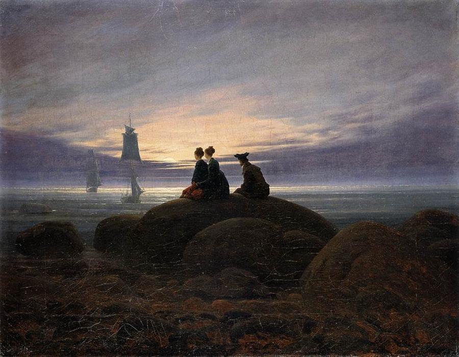 Salida de la luna en el mar (2), óleo sobre lienzo de Caspar David Friedrich (1774-1840, Germany)