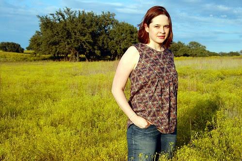 painted portrait blouse