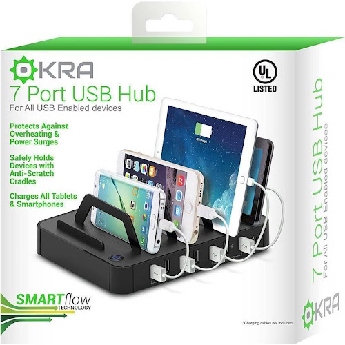 Okra 7-Port Hub USB Desktop Universal Charging Station Multi Device Dock for iPhone, Ipad, Samsung Galaxy, Lg, Tablet PC and All Smartphones and Tablets