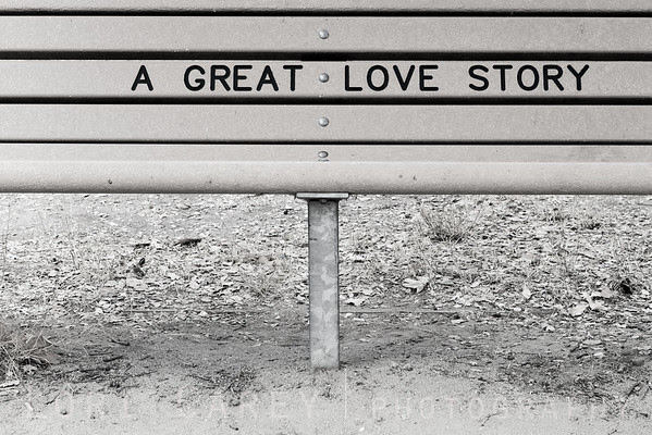 Bench with the words A Great Love Story