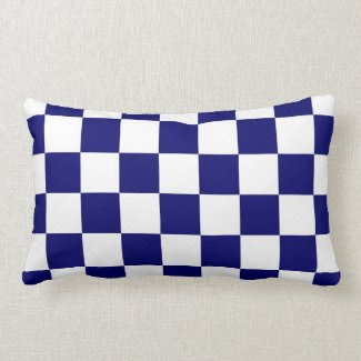 Checkered Navy and White Throw Pillows