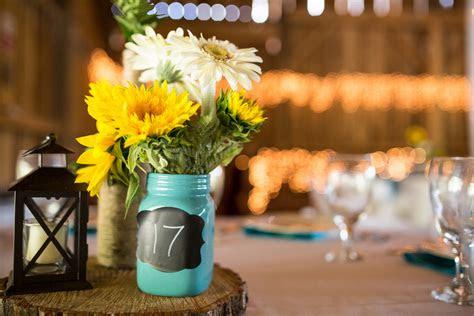 turquoise sunflowers rustic wedding  betsys barn