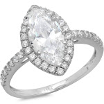 2.38ct Brilliant Marquise Cut Halo Diamond Engagement / Anniversary Wedding Ring Solid 14k White Gold - 5 by Clara Pucci