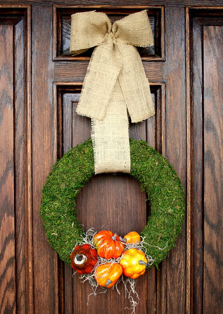 Pumpkin and Moss Door Wreath