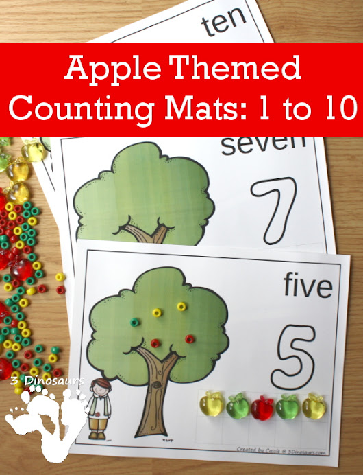 Apple Themed Counting Mats: Number 1 to 10 | 3 Dinosaurs