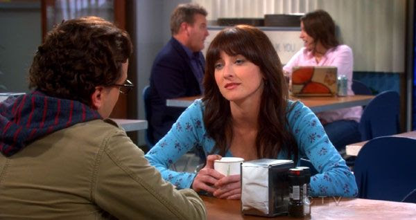 Alex (Margo Harshman) puts the moves on a clueless Leonard in 'The 43 Peculiarity' episode of THE BIG BANG THEORY.