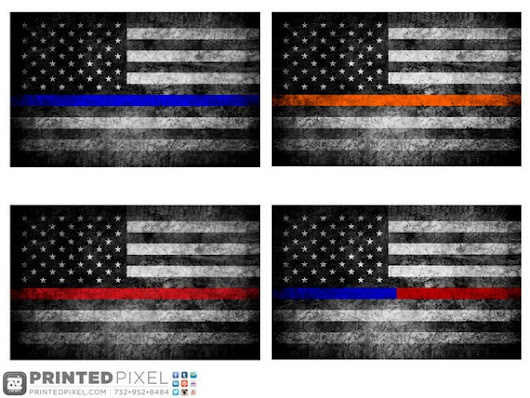 The Thin Lines Distressed American Flags by PrintedPixel on Etsy