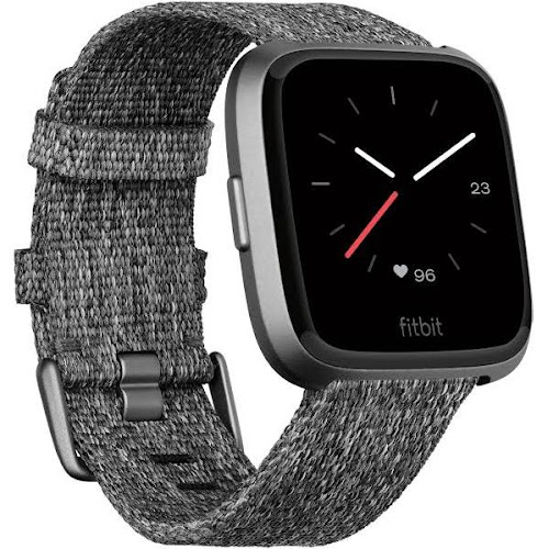 Fitbit Versa - Smart Watch with Heart Rate Monitor - Special Edition - Charcoal Black