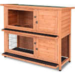 """Costway 48"""" Wooden Outdoor Rabbit House Hutch with Ladder"""