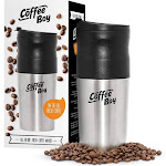 Coffee Boy All-in-One Portable Coffee Maker, with Rechargeable Electric Ceramic Coffee Grinder, 14oz Coffee Travel Mug, and Pour Over Coffee