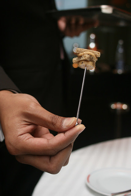 Canapé: Foie gras Terrine with truffle vinaigrette with crispy crunchy bread