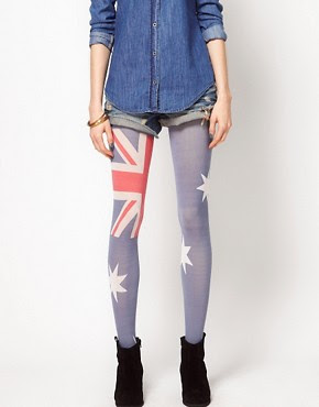 Image 1 of House of Holland For Pretty Polly Australia Flag Tights