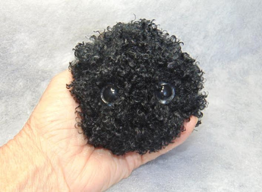 Jet Black Curly Haired FurPet© Loves to Play Catch on Handmade Artists' Shop
