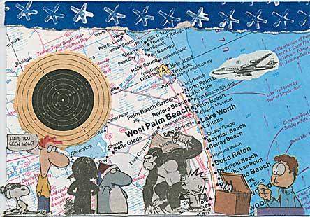Plane flies into target postcard