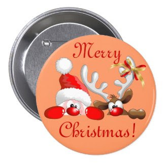 Funny Santa and Reindeer Cartoon Button