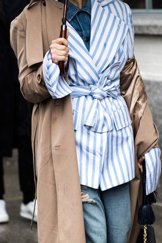 Fall Layers Outfit Idea Street Style Inspiration Striped Wrapped Jacket Trench Coat Denim Shirt Ripped Jeans Rainy Day Look Vogue Paris Sandra Semburg Via Le Fashion Blog