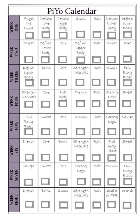 piyo workout schedule kayaworkoutco