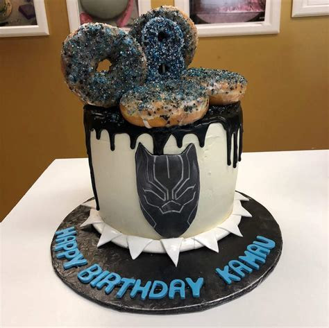 Black Panther with Donuts   Children's World   Cake and