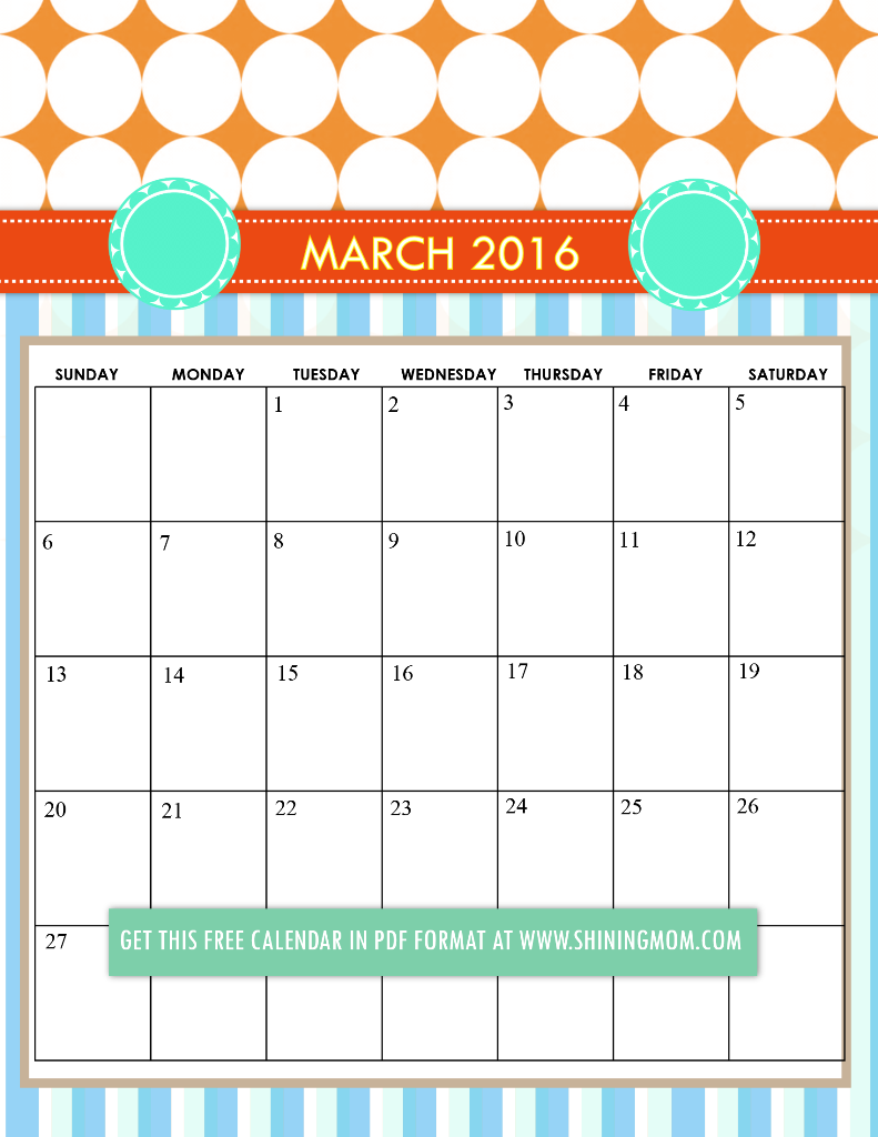 cute March 2016 calendar free printable 791x1024