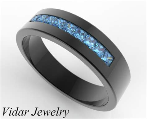 mens blue diamond wedding band  black gold vidar