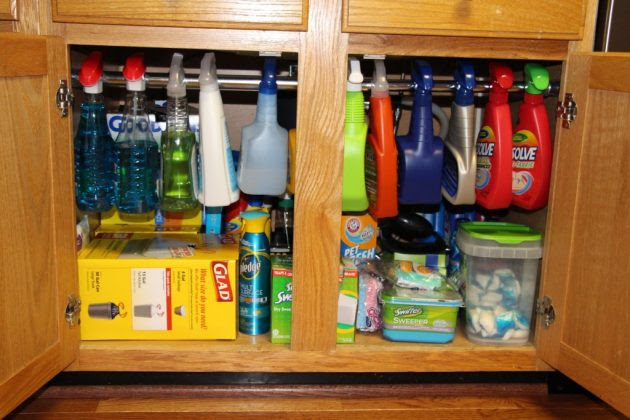 9 Kitchen Cabinet Storage Ideas to Deal With All the Clutter. kitchen cabinets cleaning products