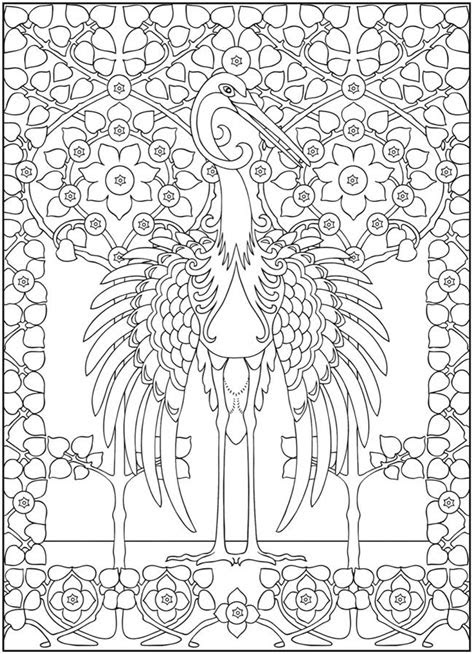 art nouveau animal design coloring page  printable