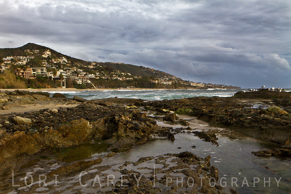 Laguna Beach, California under stormy skies