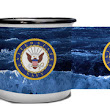 Navy Crest On Angry Sea - Metal Camp Mug