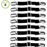 Evelots Bed Sheet Grippers Adjustable Any Size Mattress Car Seat Cover- Set of 8, Black