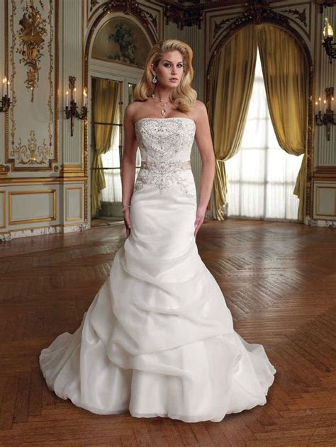 strapless organza satin mermaid wedding dress with crystal
