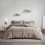 Intelligent Design - Malea Shaggy Faux Fur Comforter Set - Grey - Twin/Twin XL