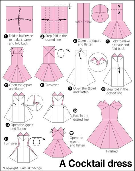 Origami Evening Dress. Origami instructions, how to make a