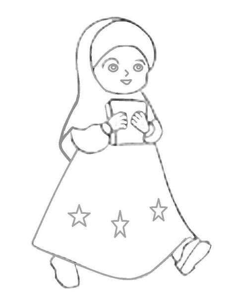mewarnai gambar kartun anak perempuan muslimah azhanco