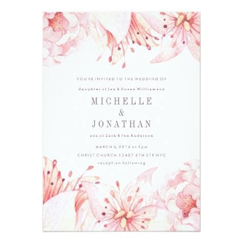 Pink Soft Watercolor Flower Wedding Invitation   Zazzle