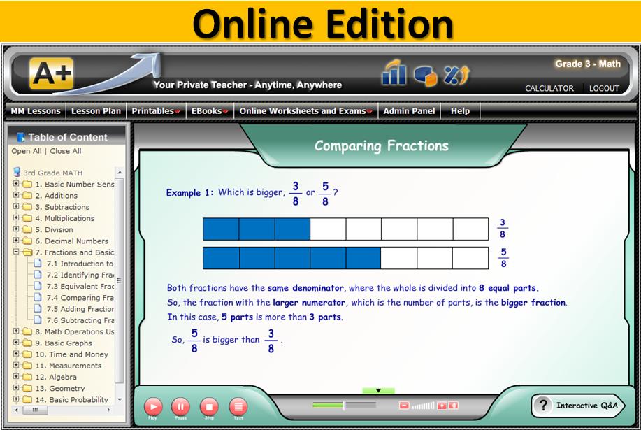 A+ Tutorsoft Interactive Math online screenshot